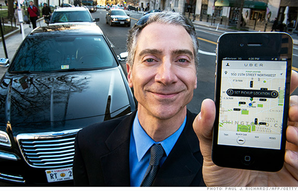 Uber driver showing the Uber app